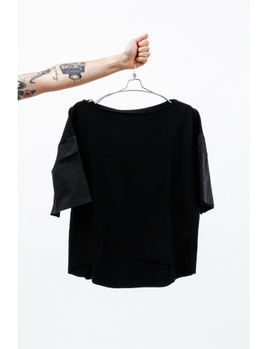 Sweatshirt Round Neck Cotton With Technical Fabric Sleeves