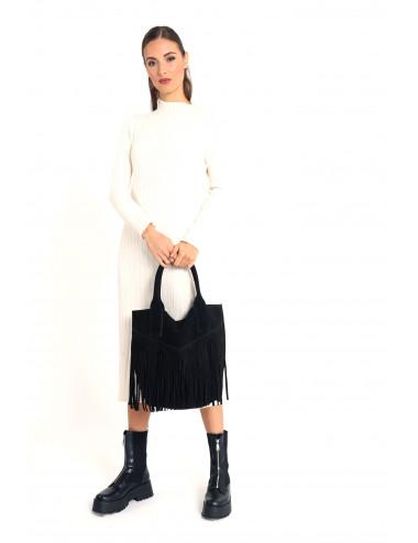 Shoulder Leather Bag With Fringes